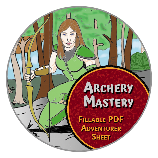 Worlde of Legends™ Adventurer Record Sheet for Archery Mastery