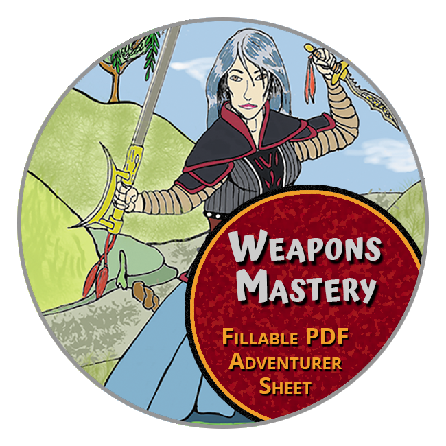 Worlde of Legends™ Adventurer Record Sheet for Weapons Mastery